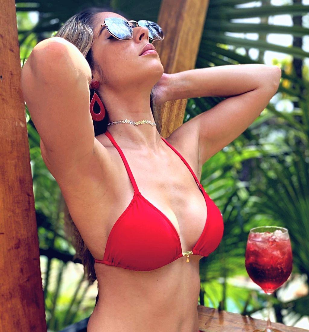 Top Biquíni Cortininha Triangulo Vermelho Tomate